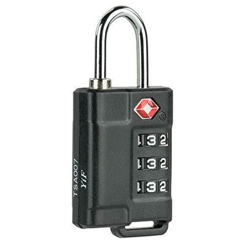 TEMPO - candado de combinación TSA de 3 dígitos sin Llave. usos: para Maletas, taquillas, Herramientas, Equipaje, Colegio. aleación de Zinc y abs. y 00101, Color Negro