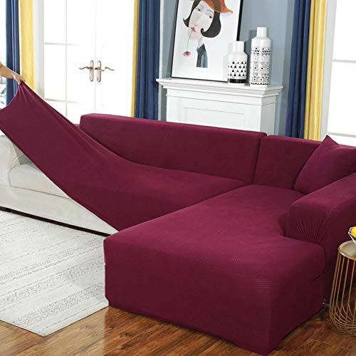 GJHGJ Fundas de sofá de Terciopelo para Sala de Estar Funda de sofá seccional sólida Funda elástica Decoración para el hogar Fundas Sofá Slipover Calidad superior-style12,4-Seat 235-300, Polonia