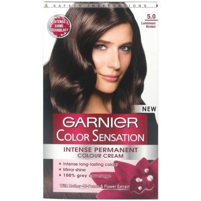 Garnier Color Sensation Intense Cream 5.0 Dauerhafte Haarfarbe, Creme, Braunton Luminous Brown, 3 Stück
