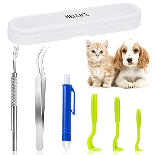 MELLIEX 6 Piezas Pinzas para Garrapatas, Gancho para Garrapatas Acero Inoxidable Eliminación de Garrapatas Segura Garrapatas Remover Kit para Humanos, Perros, Gatos