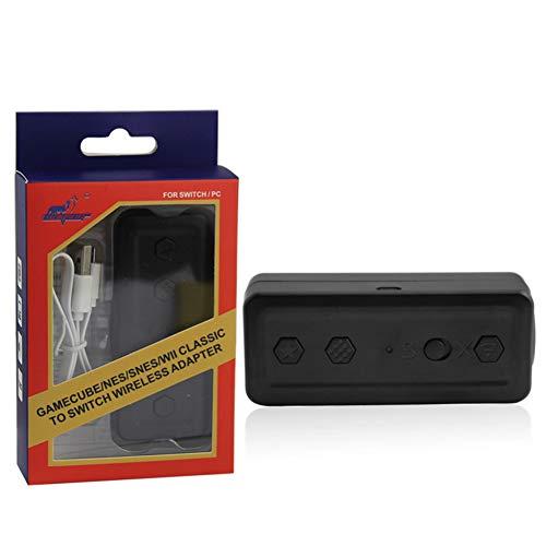 DZSF sans Fil Bluetooth 5-en-1 Convertisseur Portable Wireless Switch Converter GC/Wii/NES/Snes/Adaptateur De Poignée,B