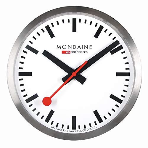 Mondaine Wanduhr - Bahnhofsuhr - Edelstahl, MSM.25S10, 25 cm