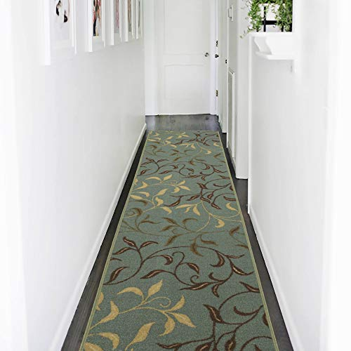 "Ottomanson runner rug, 2'7"" X 9'10"", Seafoam Leaves"