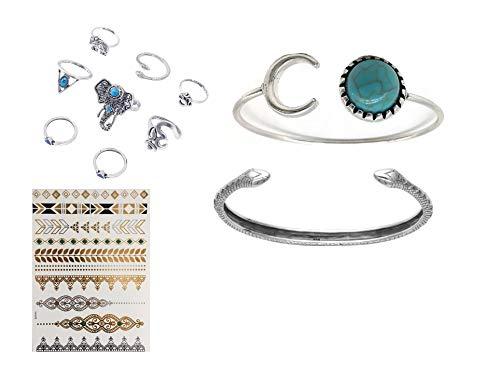 Strass & pailletten set met 2 armbanden slang en armband maan en zon steen turquoise kleur zilver met een tattoo-boog goud en set met 8 ringen olifant en slang