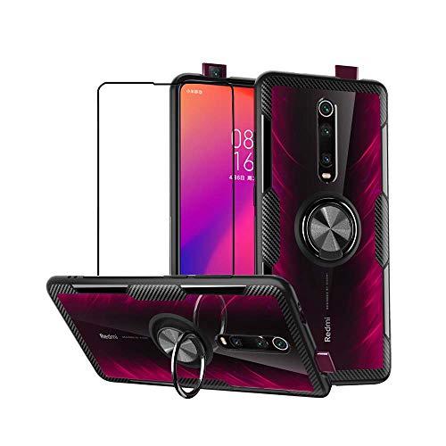 mvced Hülle Kompatibel mit Xiaomi Mi 9T/9T Pro Redmi K20/k20 Pro,Handyhülle mit Panzerglas Ringhalter Schutzhülle Crystal Transparent PC Case,Schwarz
