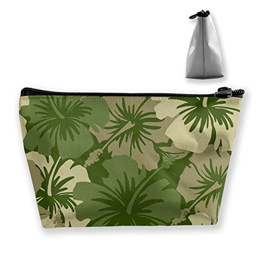 O-X_X-O Women Girls Large Capacity Portable Storage Pouch Travel Cosmetic Organizer Clutch Pouch Multi-Purpose Makeup Bag Pencil Bag Purse with Zipper Closure (Hawaiian Floral Olive Green)