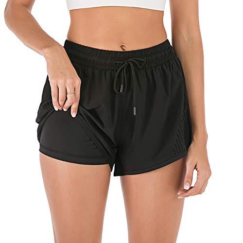 iClosam - Pantalones cortos deportivos para mujer, 2 en 1, transpirable, de malla de secado rápido, pantalones de entrenamiento, S-XL