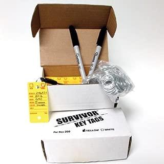 Poly Key Tag, Car Key Tag, Yellow, 250 per Box, with Rings and Pens (Survivor)