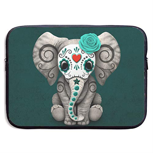 Teal Blue Day of The Dead Sugar Skull Baby Elephant 13-15 Inch Laptop Sleeve Bag Portable Water Resistant Computer Liner Laptop Case Notebook Cover