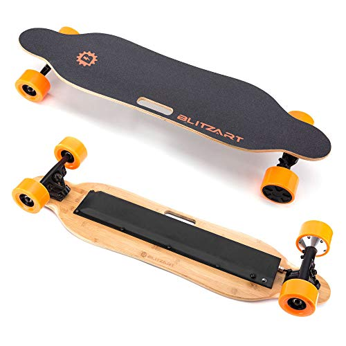 BLITZART Tornado 38' Electric Longboard E-Skateboard Motorized Electronic 19mph Hub-Motor 3.5' PU Wheels (Orange)