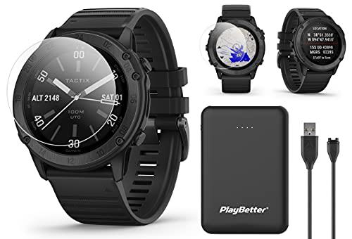 Garmin tactix Delta Sapphire Tactical GPS Watch Power Bundle | 2020 Model | +PlayBetter HD Screen Protectors & PlayBetter Portable Charger | 010-02357-00