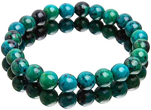 MYTY Relief Chrysocolla Bracelet, Natural Stone Elastic Bracelet, Handcrafted Natural Chrysocolla Crystal Energy Beaded Bracelets, Natural Chrysocolla Beads -2pcs