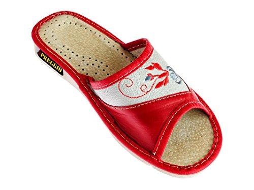 APREGGIO Hausschuhe Leder Damen Pantoffeln Gummisohle Latschen Fester Sohle Tragegefühl Komfort Bequeme Weich 100% Naturprodukt Handgefertigt (Rot, 36)