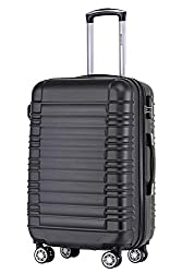 BEIBYE 2088 Twin Rolls Trunks Suitcase Trolleys Hard Shell ML-XL Set in 13 Colors (Black, L)
