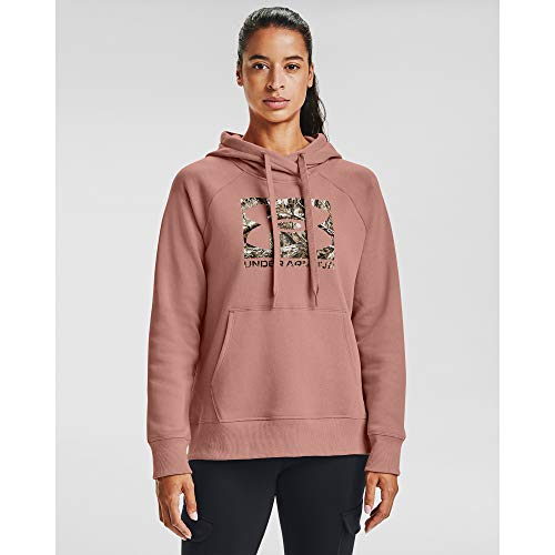 Under Armour Women's Rival Fleece Hoodie , Mocha Rose (661)/Realtree Edge , X-Large