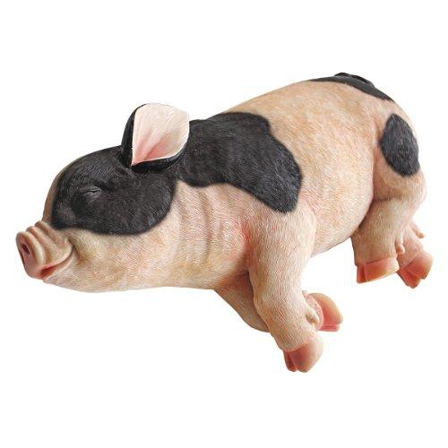 Design Toscano schlafendes Schwein Gartenfarm Tierstatue, Polyresin, vollfarbe, 30,5 cm