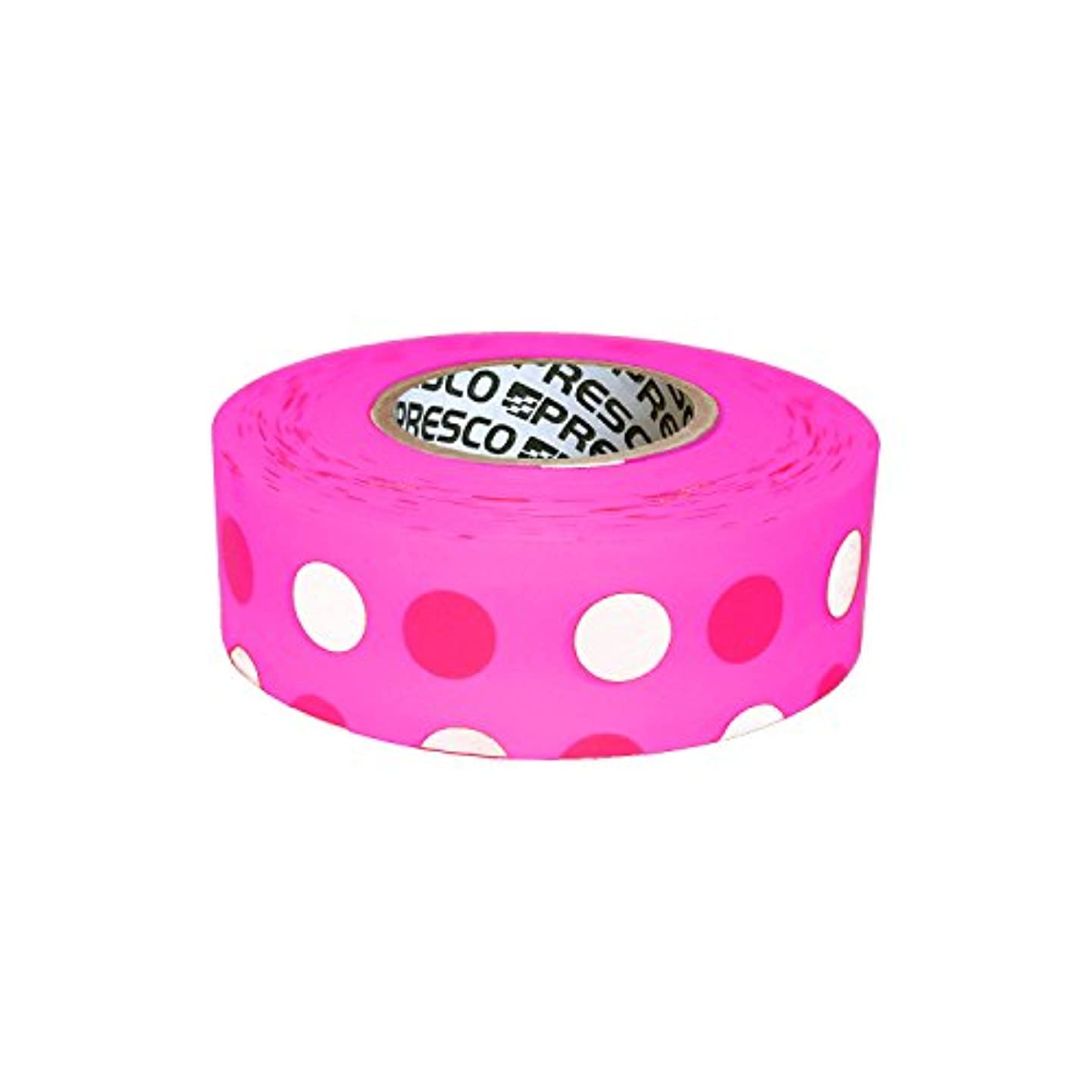 Presco Polka Dot Patterned Roll Flagging Tape: 1-3/16 in. x 50 yds. (Neon Pink and Light Pink Polka Dot)