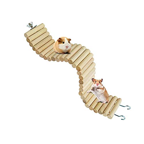 Hamiledyi Wooden Hamster Bridge,Natural Wooden Bendable Ladder Hamster Cage Accessories Climbing Suspension Hideout Toy for Dwarf Hamster Mice Gerbil Chinchilla Chipmunk