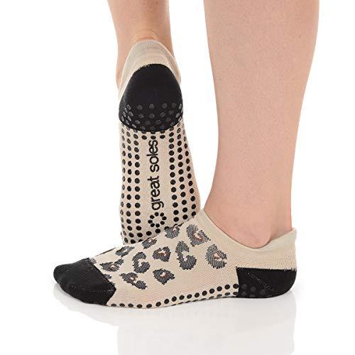 Great Soles Ombre and Leopard Print Non Skid Socks for Women - Non Slip Grip Yoga Socks for Pilates, Barre, Ballet (Leopard Black)
