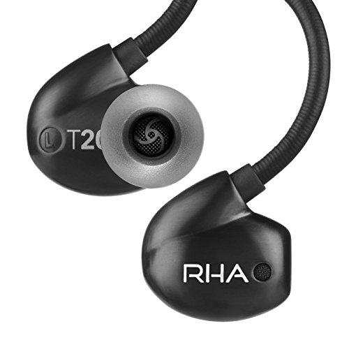 RHA T20i Black: Aislamiento de Ruido de Alta Fidelidad Auriculares Intrauditivos DualCoil con Control Remoto y Micrófono