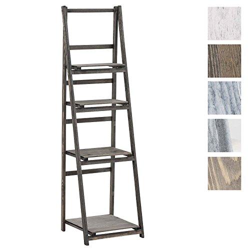 CLP Treppenregal Lillian aus Holz I Stufenregal mit Vier Ablageflächen I erhältlich Dunkelbraun