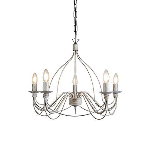 QAZQA Klassisch/Antik/Landhaus/Vintage/Rustikal Klassischer Kronleuchter/Chandelier grau - Zero Branco 5-flammig/Innenbeleuchtung/Wohnzimmerlampe/Schlafzimmer/Küche Stahl Rund LED gee