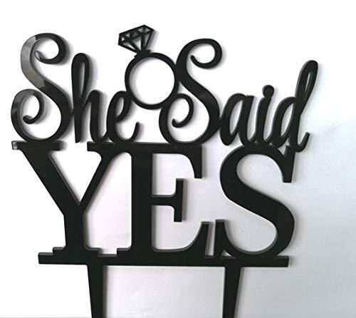 Sie Sagte ja. Groom schlägt zu Seiner Braut Tortenaufsatz Hochzeit Verlobungsring Viele Farben Glittery Silver