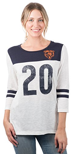 Ultra Game NFL Chicago Bears Womens T-Shirt Vintage 3/4 Long Sleeve Tee Shirt, White, Medium