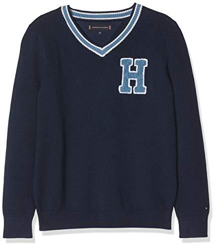 Tommy Hilfiger Jungen Cricket V-Neck Sweater Sweatshirt, Blau (Black Iris 002), 92 (Herstellergröße: 74)