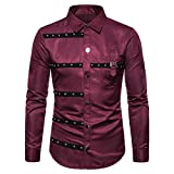New Mens Striped Lapel Button Down Long Sleeve Shirt Fashion Slim Fit Tops Red