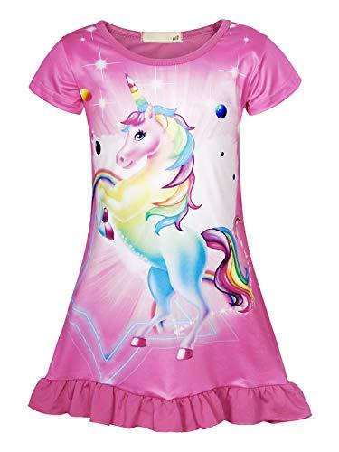 AmzBarley Camisón de Algodón Pijama Niña Unicornio Chica Manga Larga Vestido Fiesta Entero una Pieza Ropa de Dormir Traje Disfraz Ducha Noche (Rosa Rojo 157, 3-4 años)