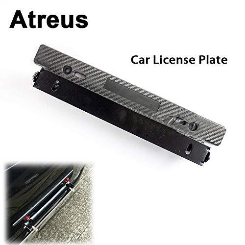 Atreus For Vw Polo Passat B5 B6 Mazda 3 6 Cx-5 Toyota Corolla Ford Focus Stainless Steel Carbon Car License Plate Frame Bracket,1Pcs Blue