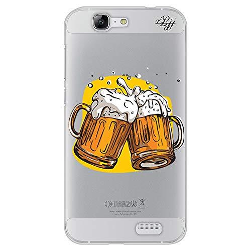 BJJ SHOP Funda Slim Transparente para [ Huawei Ascend G7 ], Carcasa de Silicona Flexible TPU, diseño : Jarras de Cerveza, Salud