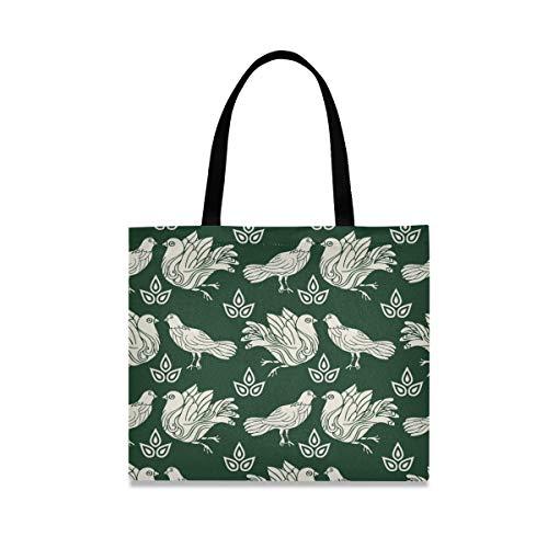XiangHeFu Handtasche Einkaufstasche Pigeon Doves Green Wiederverwendbare Freizeitreise Mode mit großer Kapazität