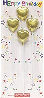 TREASURE BOX Metallic Heart Shape Cake Candles | Birthday Cake Topper with Holder for Cupcake Wedding | (Golden Metallic H...