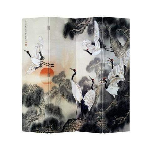 Fine Asianliving Paravent Raumteiler Trennwand Spanische Wand Raumtrenner Sichtschutz Japanisch Orientalisch Chinesisch L160xH180cm Bedruckte Canvas Leinwand Doppelseitig Asiatisch -203-132