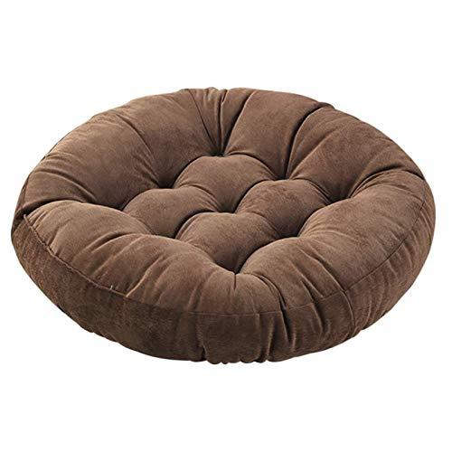 JHDUID Runde Stuhlkissen Sitzkissen Meditationskissen Bodenkissen Boosted Kissen für Yoga Wohnzimmer Sofa Balkon Outdoor 55x55CM,Braun