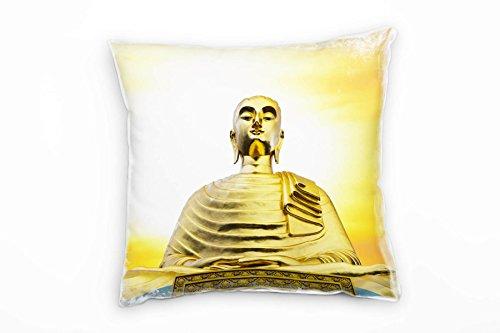 Paul Sinus Art Urban, goud, geel, Boeddha, zonsondergang decoratief kussen 40 x 40 cm, voor bank, sofa, lounge, sierkussen - decoratie om je goed te voelen