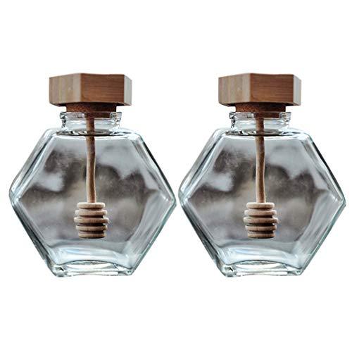 Cabilock 2 Unids 380 Ml Tarro de Miel Hexagonal Tarro Sellado de Vidrio Botella de Almacenamiento de Jarabe de Miel Transparente Recipiente de Cocina con Tapa de Madera Varilla