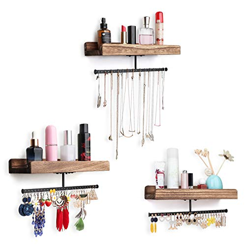 Miratino Jewelry Organizer Hanging Jewelry Holder Rustic Wood Wall Mounted Jewelry Storage for Necklaces Bracelets Earrings Rings Display Set of 3 Carbonized Black