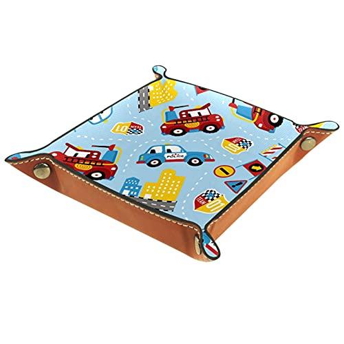Yumansis Bandeja de dados, bandeja plegable de piel sintética para dados, juego de dados y otros juegos de mesa de juegos de mesa, dibujos animados de coche colorido 16 x 16 cm