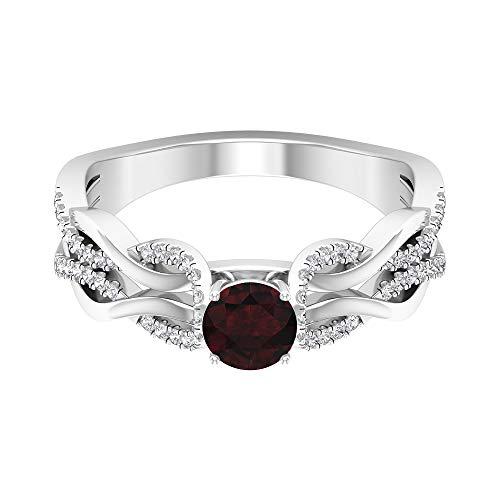 Anillo de granate solitario de 1/2 quilates, anillo de diamante HI-SI de 1 quilate, anillo de compromiso trenzado de oro (granate redondo de 5 mm), 14K Oro blanco, Size:EU 66