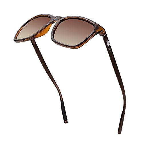 Square Aluminum Magnesium Frame Polarized Sunglasses Vintage Spring Temple Sun Glasses Men Women Retro Driving Eyewear UV400 Brown Lens/Leopard Frame