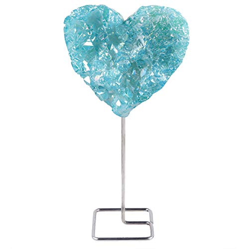 mookaitedecor Blue Titanium Coated Rock Quartz with Stainless Stand, Heart Shaped Geode Crystal Cluster Stone for Healing Reiki and Home Decor