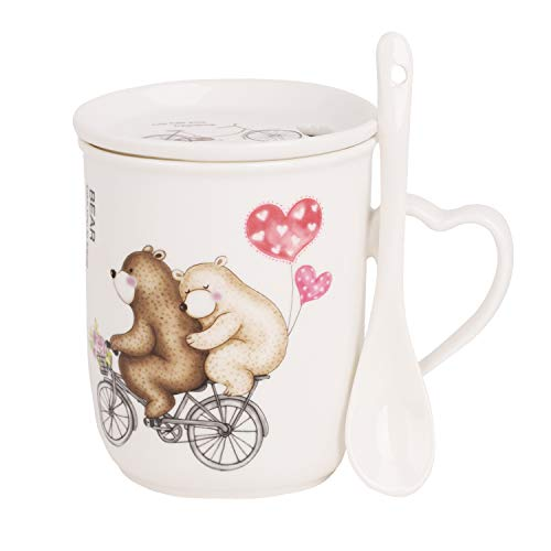 JINTN Niedliche Cartoon Kaffeetasse Milch-Tee-Keramik-Becher mit Deckel und Löffel Geschenk hitzebeständige Keramik Becher für Weihnachten Büro Morgengetränk