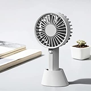 2-in-1 Design Handheld or Desktop Rechargeable Fan with Optional Stand - Portable Lightweight Home, Office and Travel Hand Fan with Speed Settings (Grey)