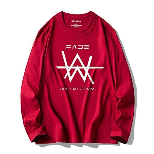 Camiseta estampada de algodón puro con cuello redondo para hombre