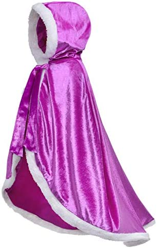 Fur Princess Costume Cape Fur Hooded Cloaks for Girls Dress Up Purple 10 12 Years 150cm product image