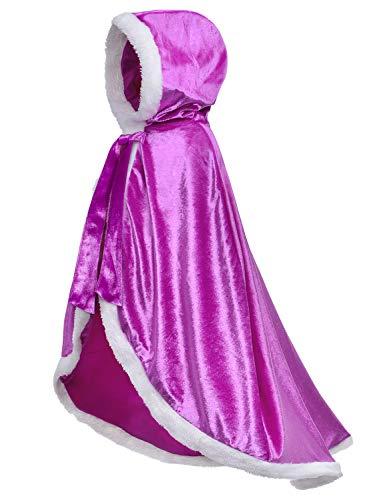 Fur Princess Costume Cape Fur Hooded Cloaks for Little Girls Dress Up Purple 4-5 Years(120cm)