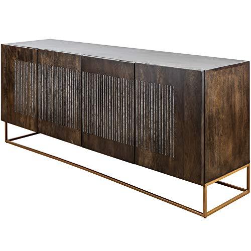 Preisvergleich Produktbild Invicta Interior Massives Sideboard Onyx 177cm Mangoholz mit Achatstein Besatz Anrichte Kommode Wohnzimmerschrank